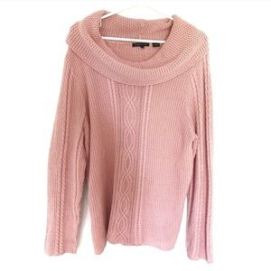Jeanne Pierre Cable Knit Blush Cowl Sweater